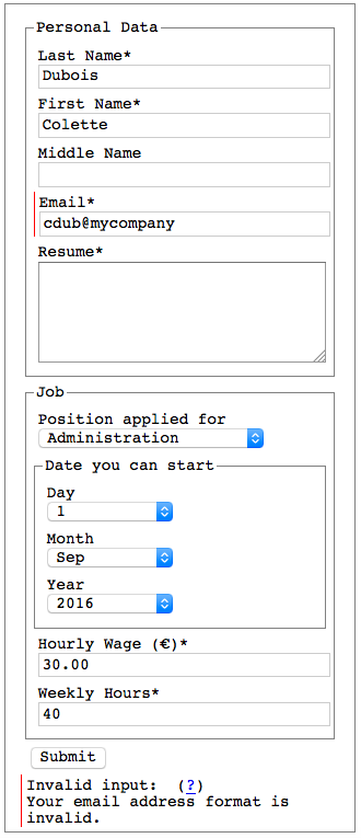 Accessible client-side HTML form validation