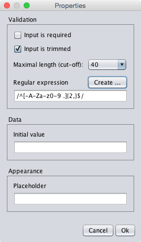 The properties dialog of the custom textfield component