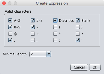 The pattern properties dialog of the custom textfield component