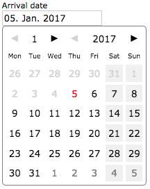 A date textfield with a date picker