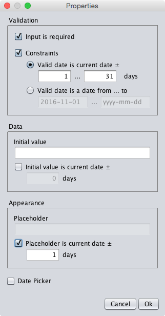 A dialog specifying the current date plus 1 to 31 days as valid date range