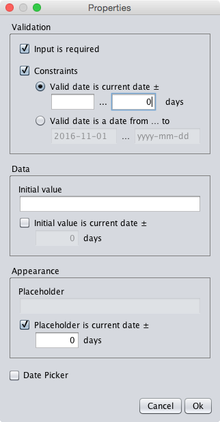 A dialog specifying the current date and any date in the past as valid date