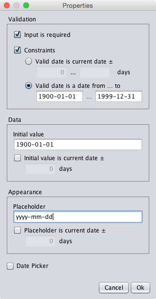 A dialog specifying any date in the 20th century as valid date