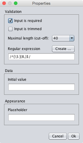 The properties dialog of the password textfield component