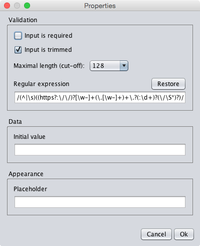 The properties dialog of the url textfield component