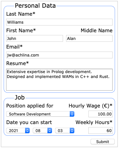 The completed job application HTML form