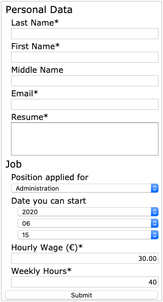 The responsive layout job application form in degraded layout