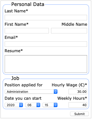 The responsive layout job application form at its minimum fluid width