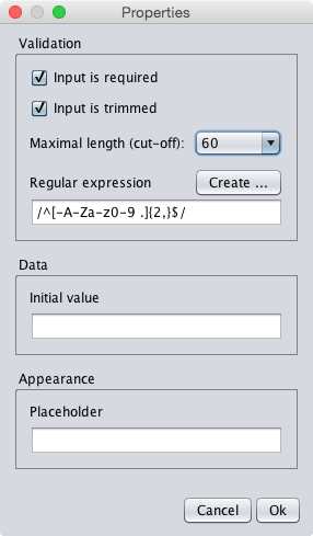 The properties dialog of the last-name textfield