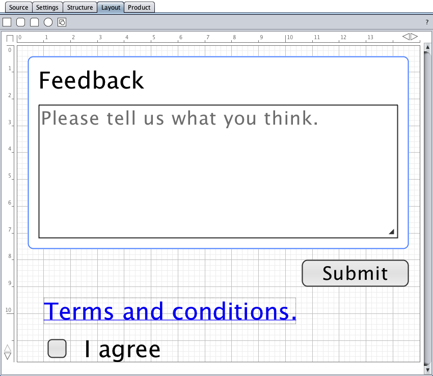 The initial layout in the layout view of the conditional submit button form