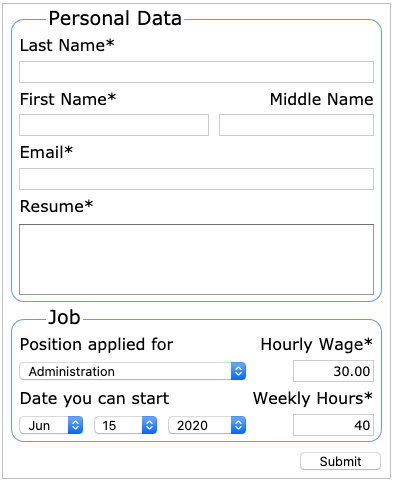 The sample job application html form